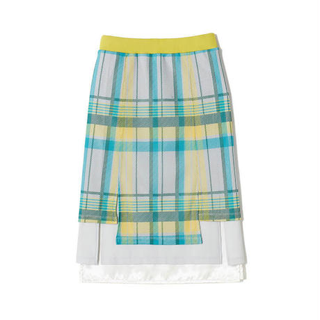 White Mountaineering, ORIGINAL BIG CHECK MESH LAYERED TIGHT SKIRT