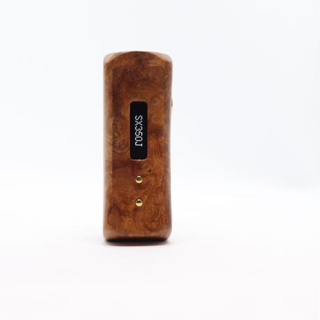 snBOX ハンドメイド スタビライズドウッド 18650 バッテリー SX350J chip  ナチュラルブラウンカラー
