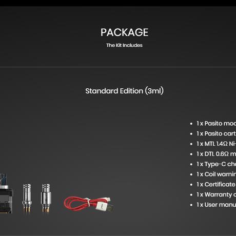 スモアント パシート SMOANT Pasito POD kit ( 別売りRBAコイルキット+ネックストラップ付)