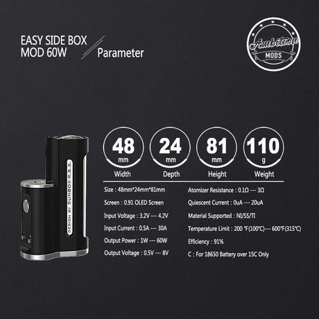 Ambition MODS  EASY Side Box Mod 60W /  DESIGN BY SUNBOX R.S.S.