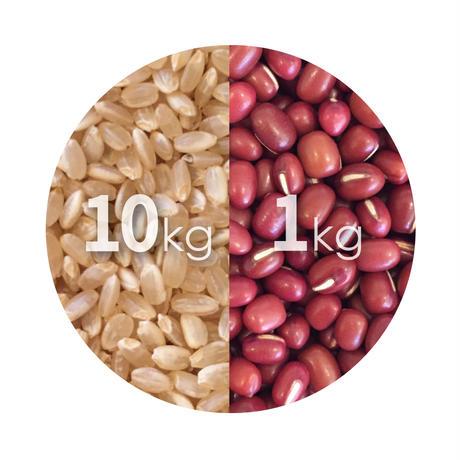 徳島県産有機栽培コシヒカリ玄米(10kg)+ 北海道産有機栽培小豆(1kg) セット