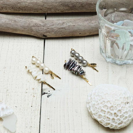 COTTONPEARL&SHELL PIN SET  コットンパール&シェルピンセット