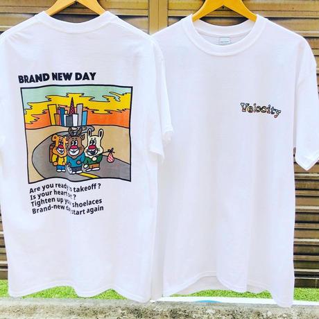 T-shirt BRAND NEW DAY front 左胸 + sticker SET