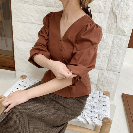 diagonal button peplum blouse[brown]
