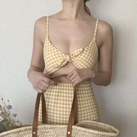 【即納】gingham bust ribbon op swim[yellow]