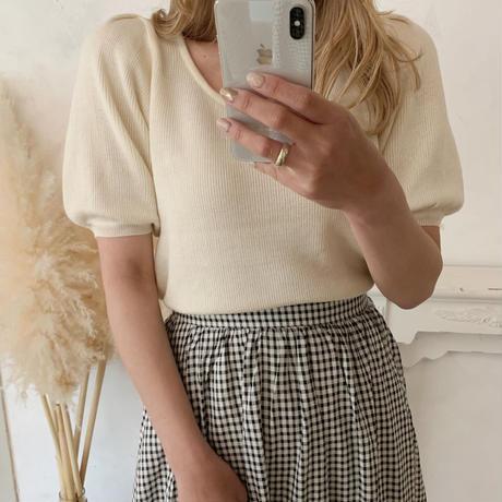 check flare long skirt
