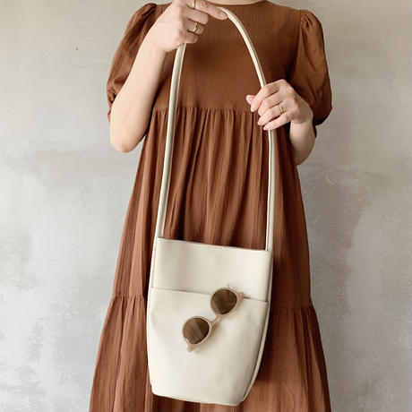 leather bucket bag[ivory]