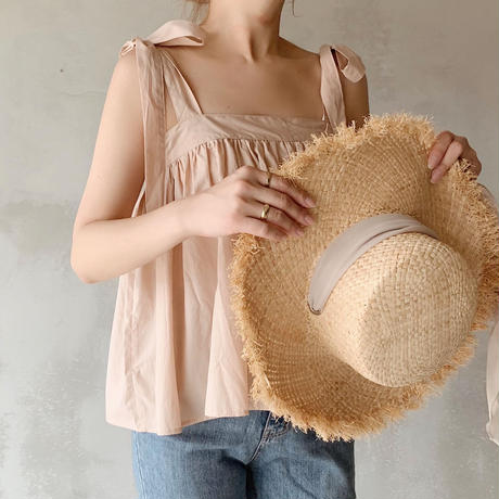 ribbon shoulder flare tops[pink]