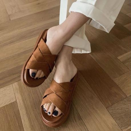 suede cushion sandal[beige / brown]