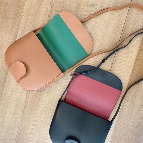 leather bi-color bag[tan×green]