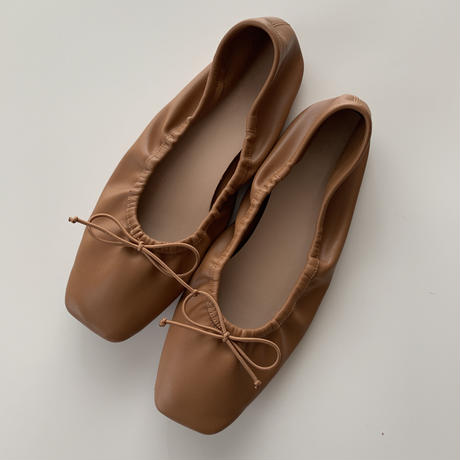 square shirring ballet shoes