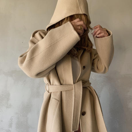hoody long coat[ivory]