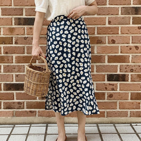 retro flower skirt[blue]