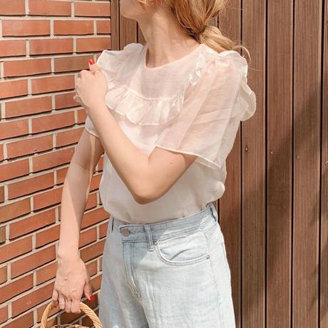 【即納】frill see-through blouse[baby pink]