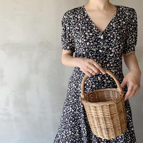 flower print dress[navy]