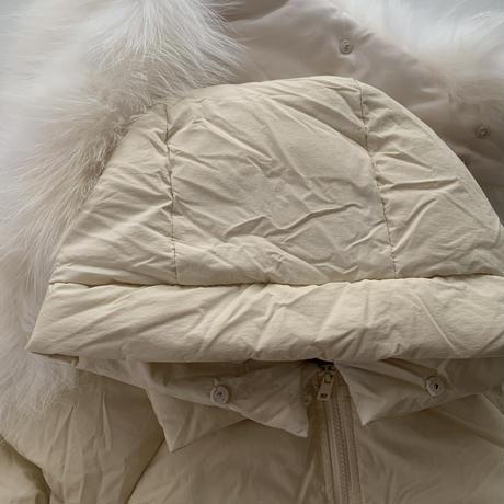 raccoon fur hoody down jacket[ivory]
