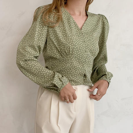 flower print blouse[green]