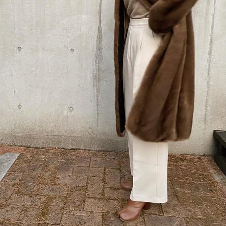 wide pants[ivory / brown]