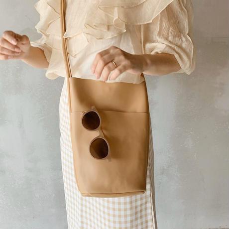 leather bucket bag[beige]