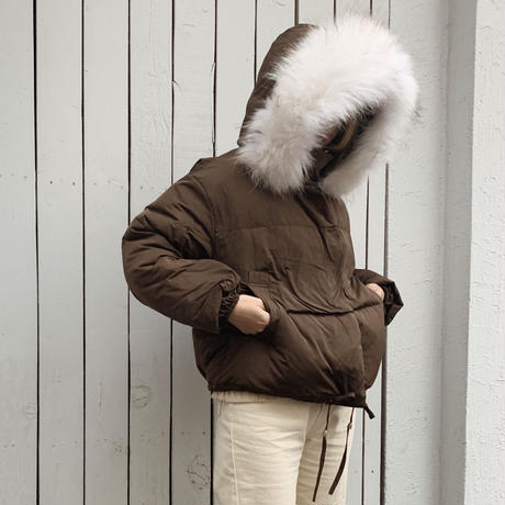 【即納】fur foody goose down short jacket[brown]