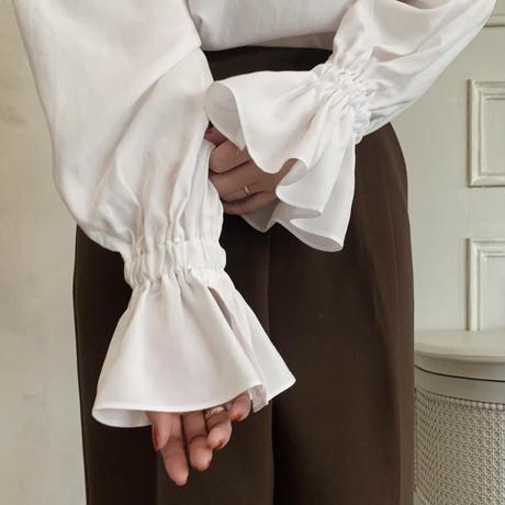 frill sleeve blouse[white]