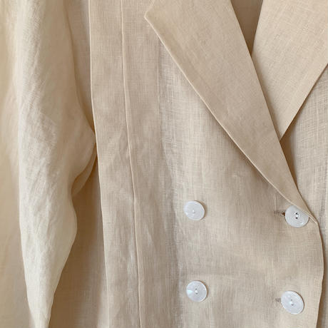 double button linen blouse[beige]