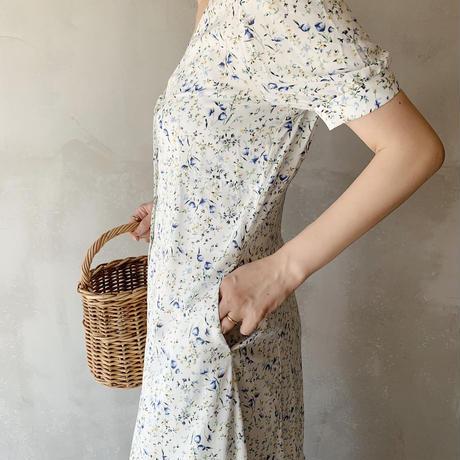 flower print dress[ivory]