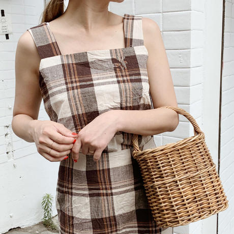 linen check tops[brown]