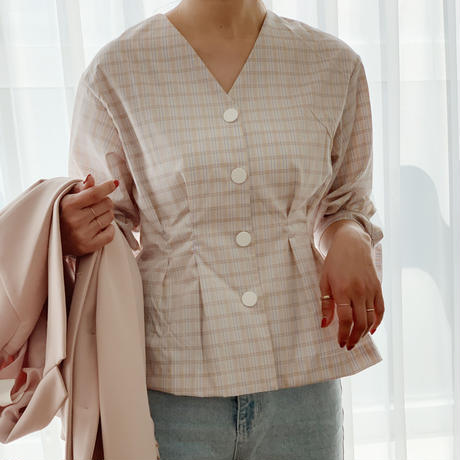 【即納】ribbon sleeve blouse