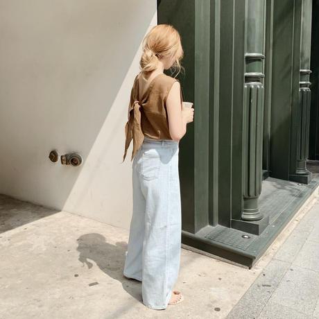 back ribbon linen tops[khaki]