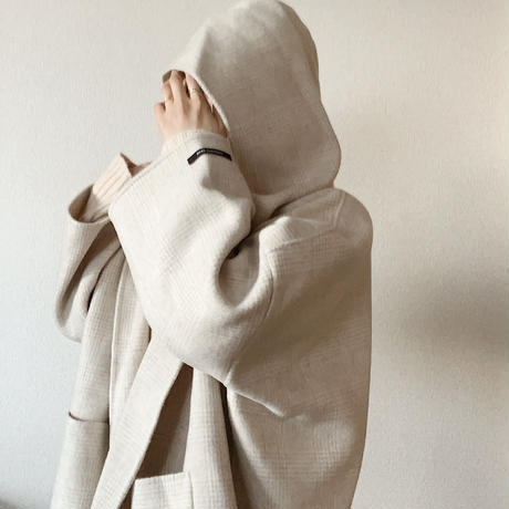 【即納】handmade wool volume coat[check]