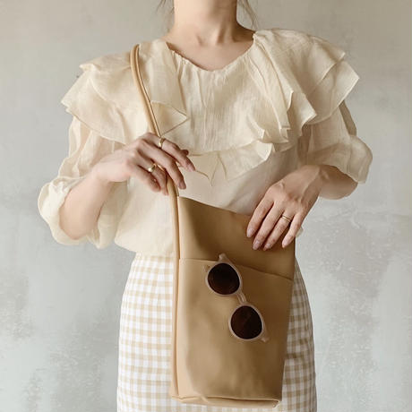 frill puff sleeve blouse[beige]