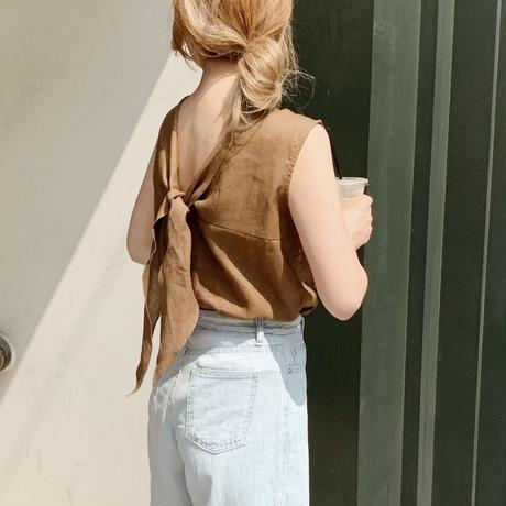 back ribbon linen tops[khaki]