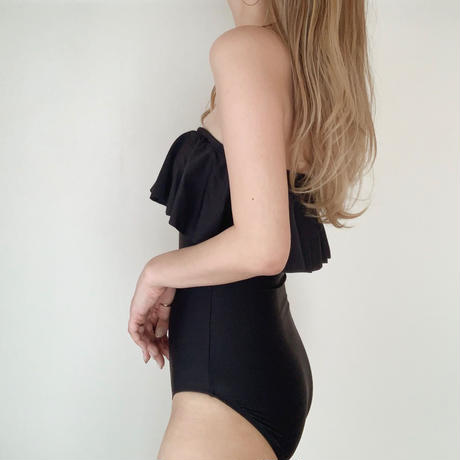 【即納】frill bare swim op[black]