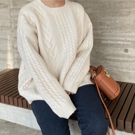 big cable knit[ivory]