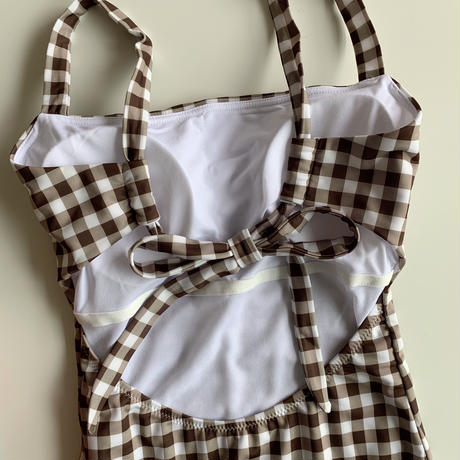 【即納】back ribbon gingham op swim