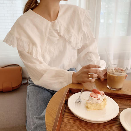 frill big collar blouse[white]