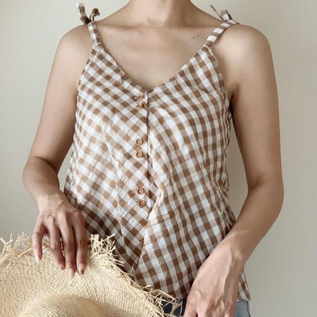 【即納】gingham flare camisole