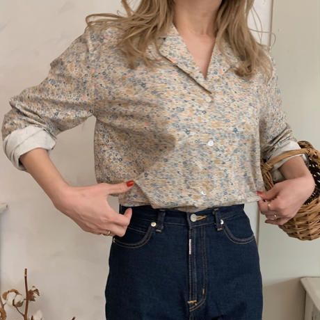 flower print shirt[blue]