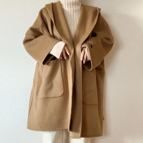 handmade wool volume coat[camel]