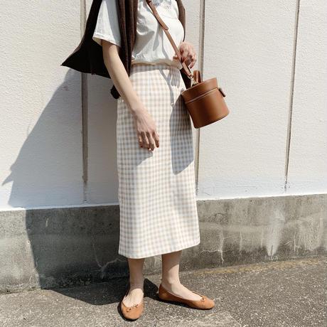 【即納】gingham skirt[baige]