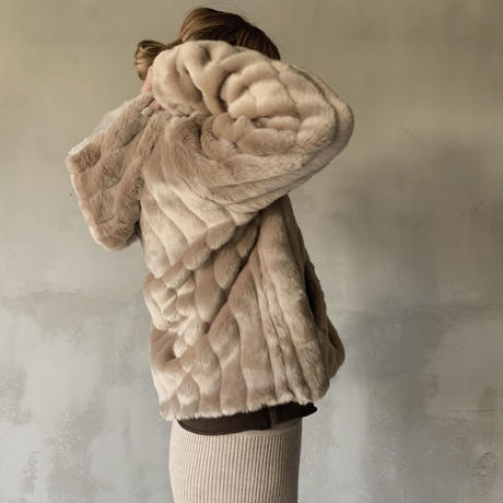 mink touch fur jacket[brown]