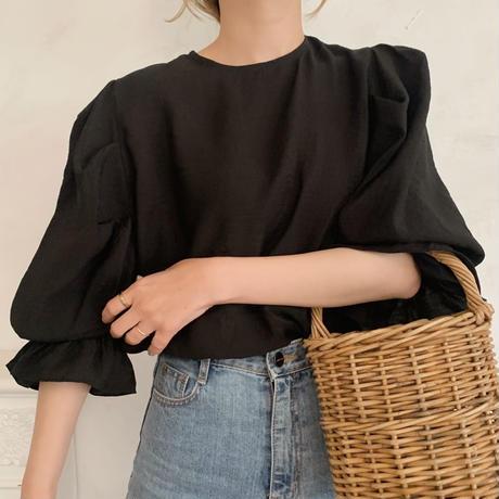 puff sleeve frill blouse[black]