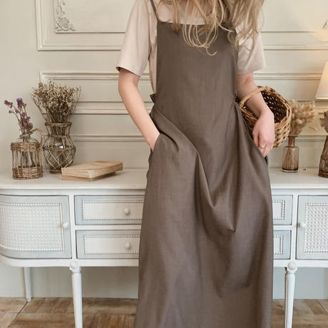 apron one-piece[gray brown]
