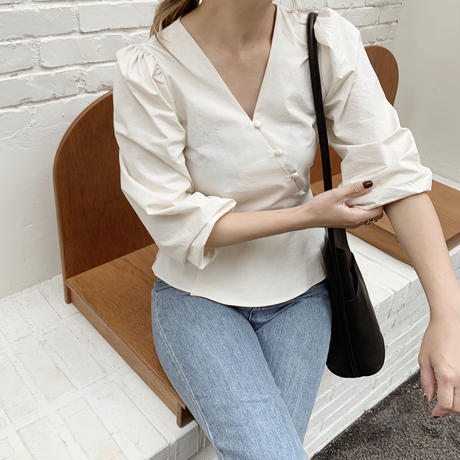 diagonal button peplum blouse[ivory]