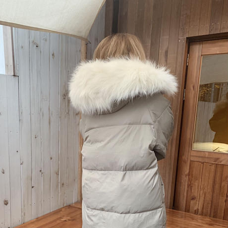 【即納】fur foody goose down long coat[gray]