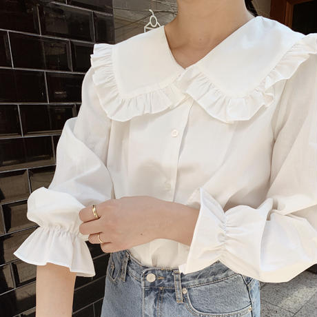 【即納】frill sailor collar blouse[white]