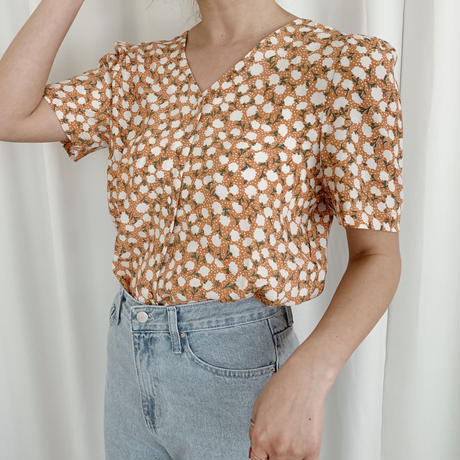 【即納】retro flower blouse[orange]