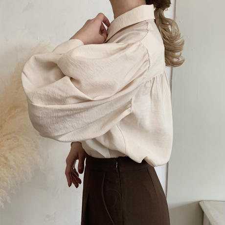 volume puff sleeve shirt[beige]