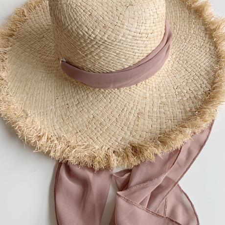 【即納】ribbon raffia hat[pink]